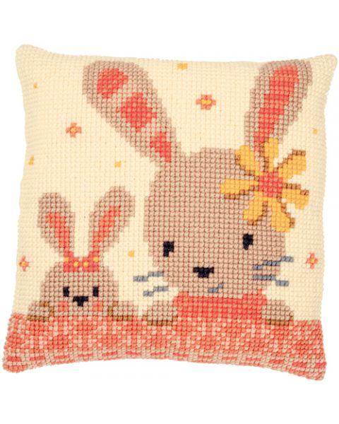 Borduurpakket kruissteekkussen lieve konijntjes Vervaco pn-0187190