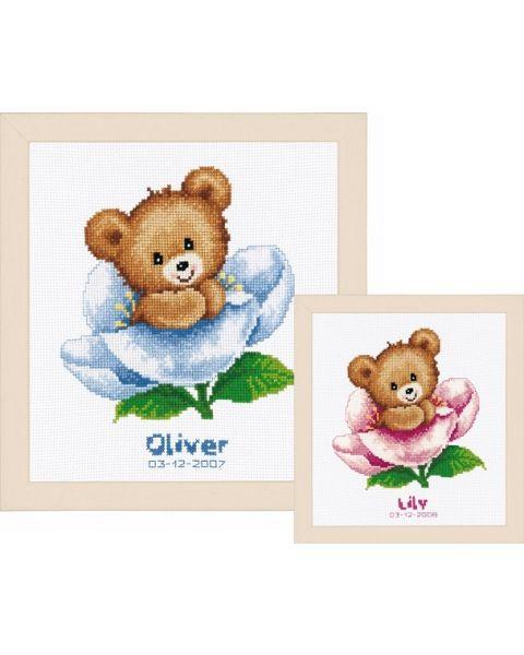 Vervaco borduurpakket Geboortetegel Schattige beertjes borduren PN-0011825