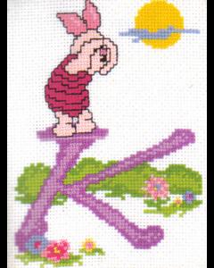 Borduurpakket winnie the pooh telpakket alfabet K van Vervaco