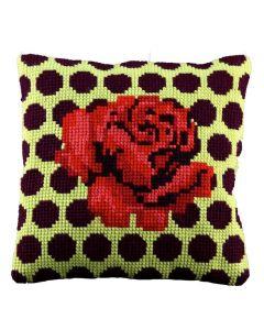 Kruissteek kussen roos van pako om borduren 003.285