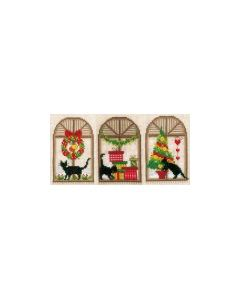 Vervaco borduurpakket 3 Wenskaarten met omslag kerstsfeer poezen pn-0150427 borduren