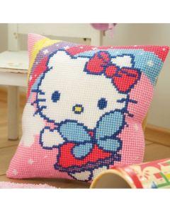Borduurpakket kruissteekkussen Hello Kitty met regenboog Vervaco PN-0151118
