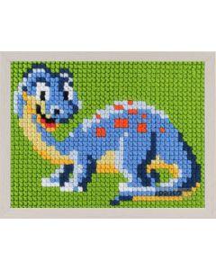 Borduurpakket kinderen blauwe dino in kruissteek pako 027.061