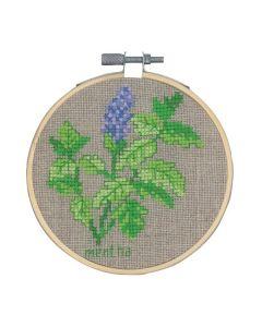 Borduurpakket Mint kruidenplant om te borduren incl borduurring Permin 13-0350