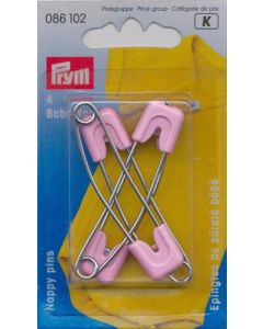 Baby veiligheidsspelden roze, edelstaal met beschermkapje.