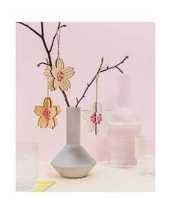 3 Houten 3D  bloemen op te hangen Rico design  08795.03.30
