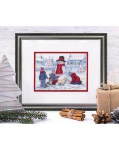 Borduurpakket sneeuwpop maken borduren van Dimensions  70-08993