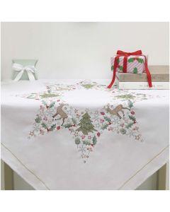 Rico Design borduurpakket tafelkleed kerstster 31241.52.21 voorbedrukt 90x90cm