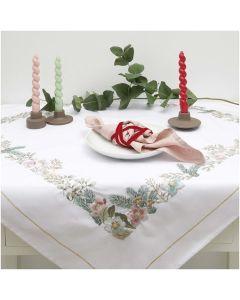 Rico Design voorbedrukt borduurpakket tafelkleed kerstrozen in spansteek 100090