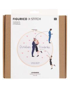 Borduurpakket  lovebirds van rico Design 100113 incl borduurring