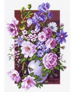 Voorbedrukt Aida vaas met bloemen - Matryonin Posad zonder borduurgaren