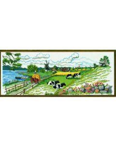 Borduurpakket polder landschap van Eva Rosenstand 12-724  linnen