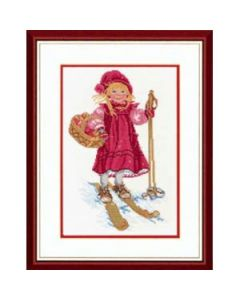 Borduurpakket meisje op de ski van Eva Rosenstand 12-965  linnen