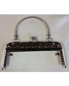 Tassen /  portemonnee sluiting en een handvat, zilver, 18cm