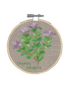 Borduurpakket Tijm kruidenplant om te borduren incl borduurring Permin 13-0351