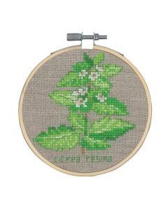 Borduurpakket Citroenmelisse kruidenplant om te borduren incl borduurring Permin 13-0354