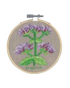 Borduurpakket Oregano kruidenplant om te borduren incl borduurring Permin 13-0355