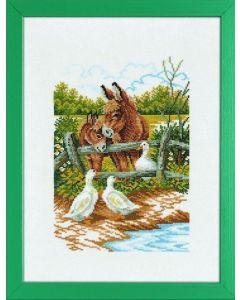 Borduurpakket ezels met ganzen van Eva Rosenstand 14-170  linnen