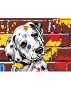 Voorbedrukt stramien/canvas hond met verfkwast  van Seg de Paris 926-296