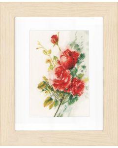 Borduurpakket boeket rode rozen Lanarte pn-0151016 linnen