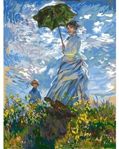 Margot voorbedrukt canvas / stramien vrouw met de paraplu van Monet om te borduren 152.43