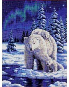 Margot voorbedrukt canvas / stramien poolnacht met ijsbeer met baby's  om te borduren 152.15