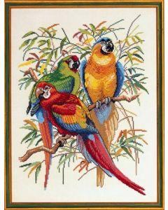 Eva Rosenstand borduurpakket Papegaaien 72-292 borduren op linnen