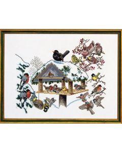Borduurpakket vogelhuis in de winter van Eva Rosenstand