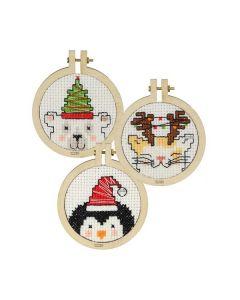 Borduurpakket 3 kersthangers merry christmas van Pako 205.063