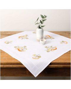 Borduurpakket tafelkleedje  pompoenen voorbedrukt platsteek van Rico 25903.00.62