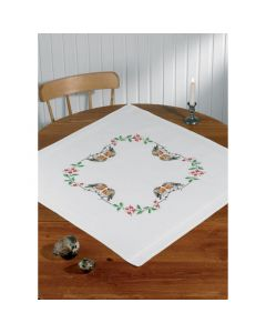 Voorbedrukt tafelkleed kerst vogels van Permin 27-8604
