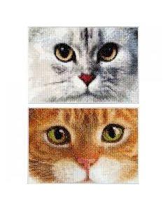 2 Borduurpakketten poezen  tiger en kitty van Thea Gouverneur 540
