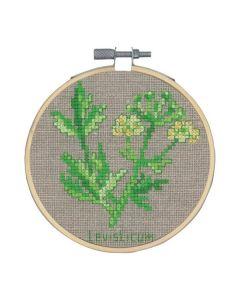 Borduurpakket Lavas kruidenplant om te borduren incl borduurring Permin 13-0352