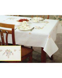 Pako borduurpakket voorbedrukt tafelkleed bloemen 304.015 130x160cm in platsteek