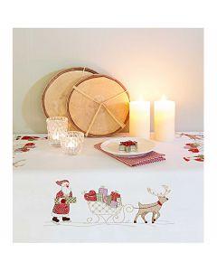 Rico Design borduurpakket voorbedrukt  tafelkleed kerstman met slee 31174.52.21