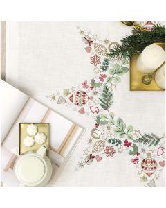 Rico Design voorbedrukt borduurpakket tafelkleed kerstster met kerstballen in spansteek 31252.52.21