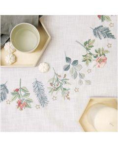 Voorbedrukt tafelkleed kerst groen met bloemen Rico Design 31253.52.21 borduren