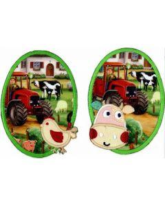 Kniestukken/elleboogstukken opstrijkbaar boerderij print,  2 stuks.