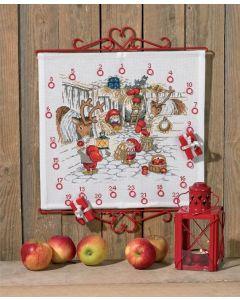 Borduurpakket adventkalander kerststal Permin 34-0218