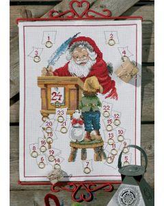 Permin borduurpakket adventskalender kerstman om te borduren 34-8267