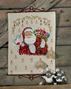Permin borduurpakket adventskalender kerstman met kado's om te borduren 34-8283