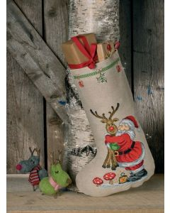 Permin borduurpakket Kerstsok kerstman met Rudolf  41-0231