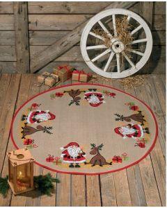 Borduurpakket kerstkleed kerstman met eland Permin 45-0210
