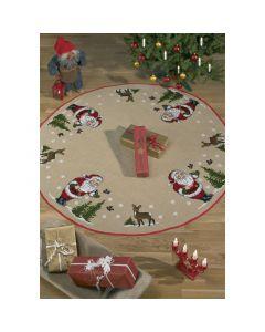 Borduurpakket kerstkleed kerstman met vogels Permin 45-0228
