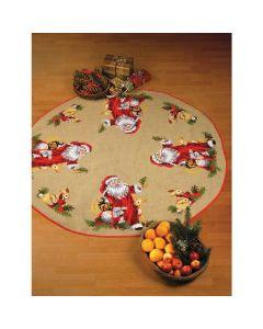 Borduurpakket kerstkleed kerstman met dieren Permin 45-3255