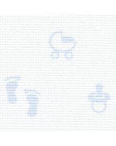 Zweigart borduurstof aida 14ct / 5.4  kruisje kleur wit met baluw bedrukte baby print 5289  afm. 48x53cm