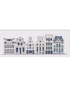 Borduurpakket Delftsblauwe huisjes van Thea Gouverneur 552 aida