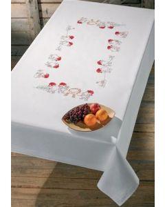 Voorbedrukt tafelkleed kerst elfen van Permin 56-0615  incl. garen afm 150x200cm