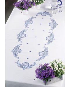 Voorbedrukt tafelkleed in blauw van Permin 58-6653R