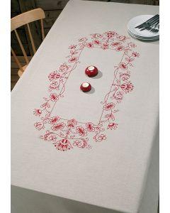 Voorbedrukt tafelkleed rode bloemen van Permin 58-8636 R